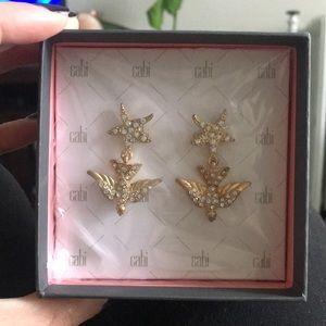 Cabi Gold Rhinestone Star Dangle Earrings